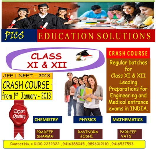 """PICS INSTITUTE is taking an Advance step for the betterment of its students by Extending its efforts for the Preparations of class XI syllabus ( For XII – Appeared and Dropout students Only )  In coming 30 days for  ALL THE THREE SUBJECTS ."""