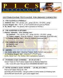 DISTINGUISHING TESTS GUIDE  FOR ORGANIC CHEMISTRY - 2015